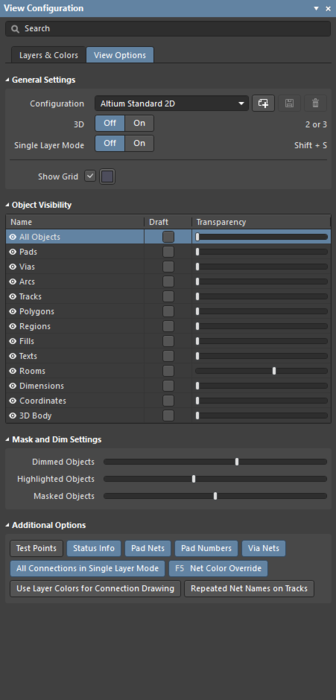 The two tabs of the View Configuration panel.