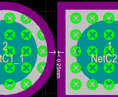A solder mask sliver error shown on the left and a silk to solder mask clearance error on the right, the purple represents the solder mask expansion around each pad.