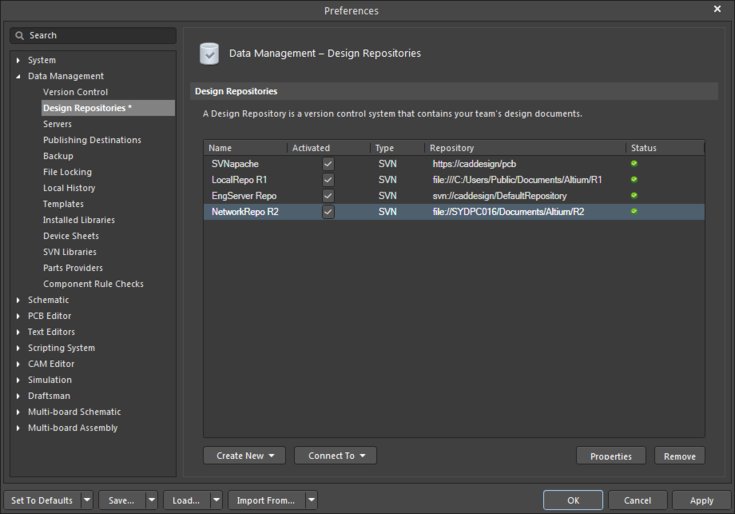 The process of creating a VCS repository – traditionally completedusing an external (separate) VCS client – can be done directly in the Altium Designer Preferences dialog.