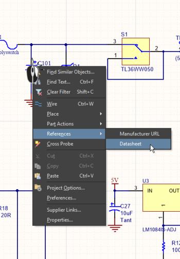 Щелкните ПКМ по компоненту на листе схемы (изображение слева) или в панели Libraries (изображение справа), чтобы открыть ссылки компонента.
