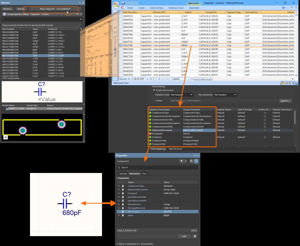 Библиотека DbLib отображает данные из базы данных в панель Libraries. Она также используется для отображения данных выбранной записи в параметры компонента в процессе его размещения.