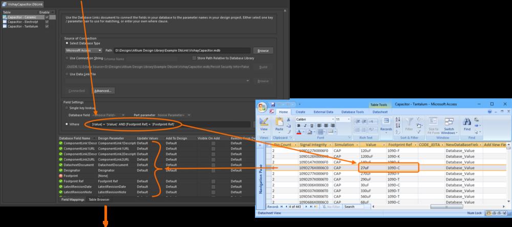 DbLink осуществляет опрос базы данных в соответствии с настройками поиска (запрос Where в этом примере). При нахождении соответствия, возвращаются отображаемые значения записи, которые загружаются в редактор параметров.