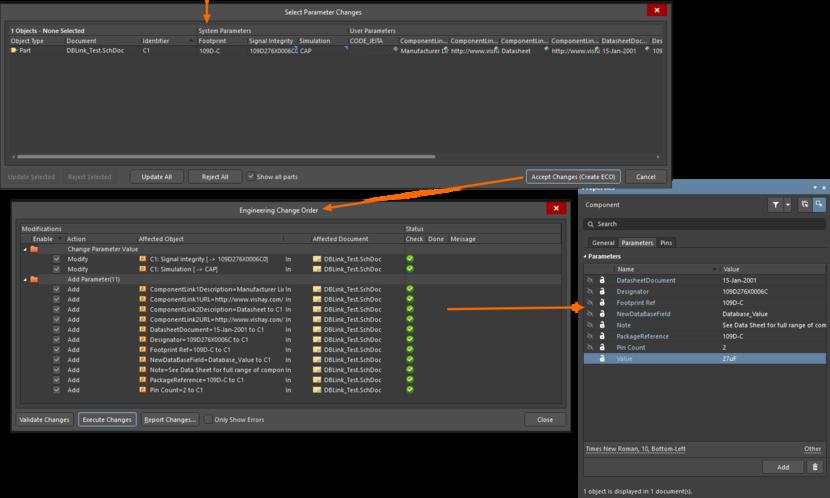 Появляется редактор таблицы параметров, где можно проверить изменения параметров. При принятии этих изменений они применяются к этим компонентам через механизм ECO.  Общий компонент теперь полностью описан.