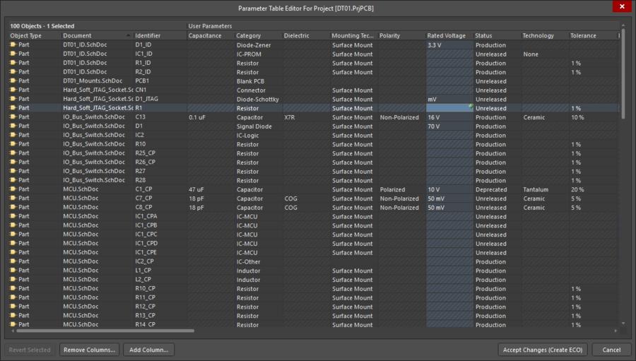 Диалоговое окно Parameter Table Editor можно использовать для редактирования параметров множества компонентов.