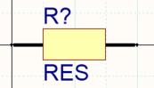 Резистор, созданный с двумя режимами отображения. Редактор библиотек включает в себя панель инструментов Mode, которую можно использовать для добавления/удаления режимов и переключения между ними.