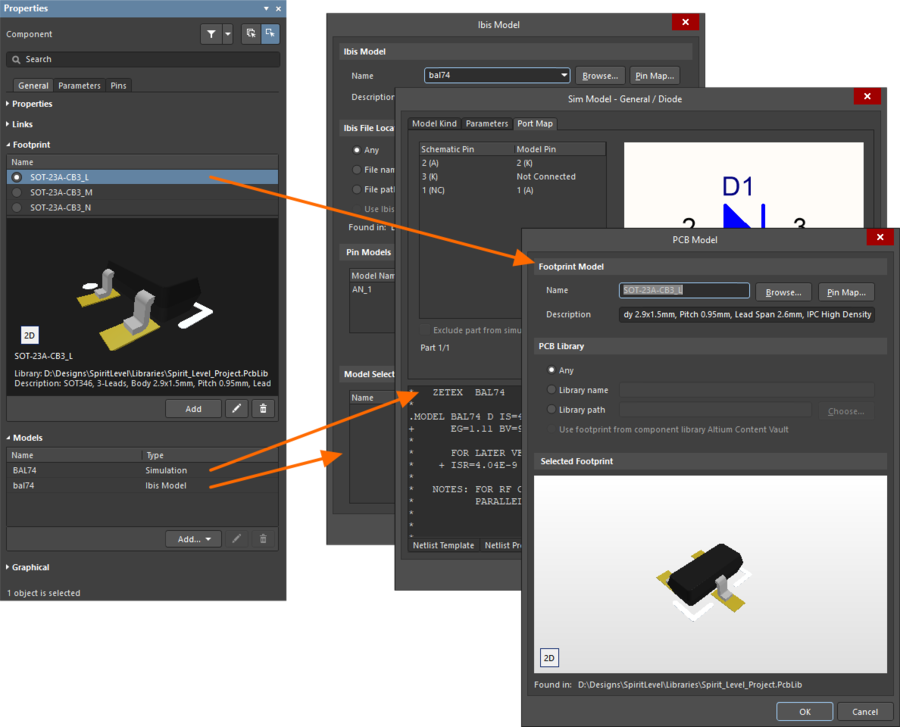 Модели добавляются в панель Properties. Модель каждого типа открывается в собственном редакторе.