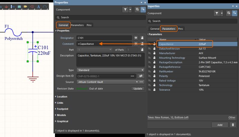 Используйте специальные строки для отображения значений любых параметров в комментарий компонента.