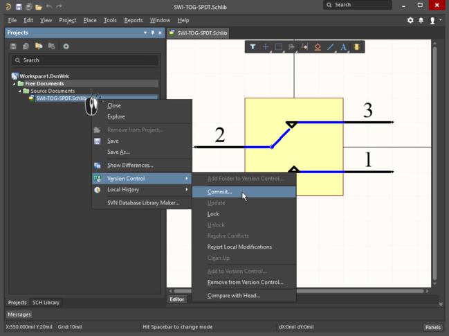 Модели под управлением версий можно редактировать непосредственно из панели (изображение слева), сохранять и фиксировать в репозитории (изображение справа).
