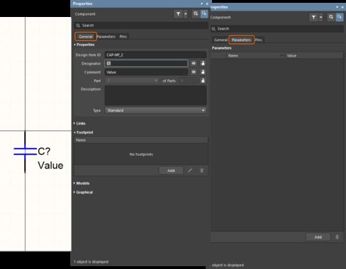 Символ является набором графических объектов и выводов (изображение слева). После того, как к нему подключаются посадочное место и модели и добавляются параметры, он становится компонентом (изображение справа).
