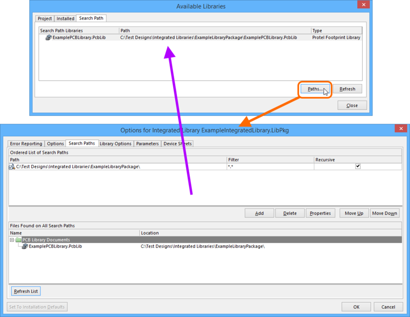An example of a defined search path along which to find the required PcbLib model file.