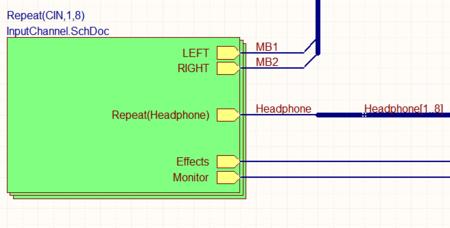 Слева показаны четыре объекта Sheet Symbol, каждый из которых ссылается на один лист схемы (PortIO.SchDoc). Справа показана схема InputChannel.SchDoc, продублированная восемь раз с помощью ключевого слова Repeat.