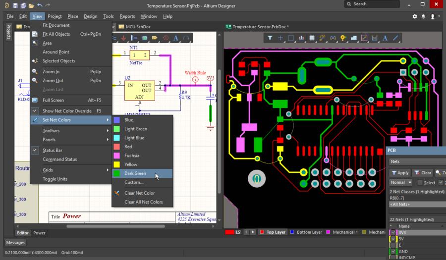 Цвета цепей, примененные в редакторе схем, передаются в плату с помощью команды Update PCB. Настройте переопределение цветов в плате, чтобы управлять тем, как эти цвета будут отображаться в плате.