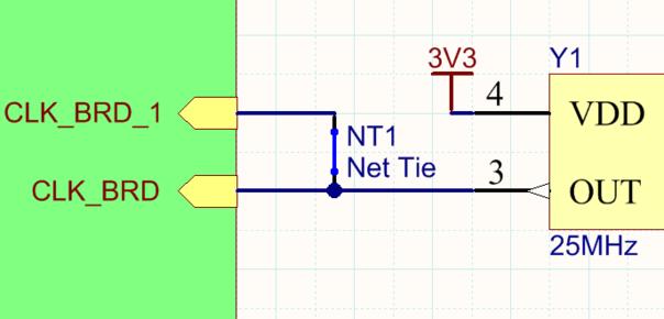 Компонент Net Tie, используемый для трассировки одного тактового сигнала к двум тактовым выводам ПЛИС. На печатной плате контактные площадки (показаны штриховкой) посадочного места компонента Net Tie замкнуты трассой (показана контуром).