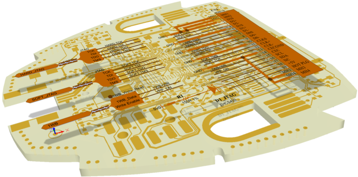 The software manages the connective data across the schematic and the PCB.