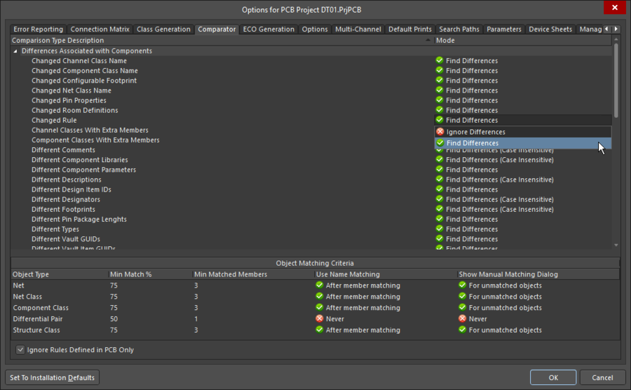 Компаратор следует настройкам, заданным на вкладке Comparator диалогового окна Options for Project.