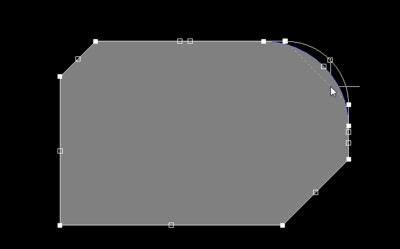 Sliding the arc edge while maintaining the size and position of adjoining edges.
