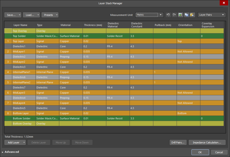 Electrical layers are added in the Layer Stack Manager dialog.
