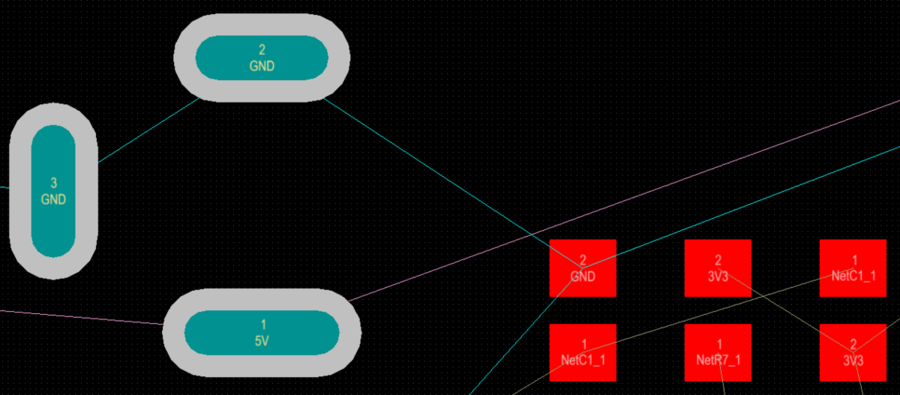 Connection lines are automatically created between each pad in the net, in accordance with the applicable Routing Topology rule (the default is Shortest).  In this design, the GND and 5V nets use a different color for their connection lines.