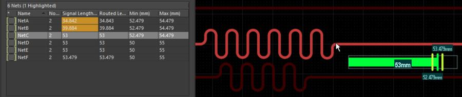 配線経路に沿ってカーソルを移動すると、チューニング セグメントは自動で追加されます。