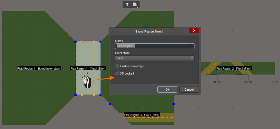 Double-click on a region to open the Board Region dialog and assign the required layer stack.