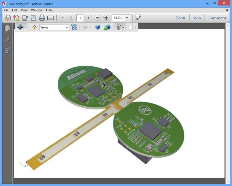 Интерактивное представление экспортированной 3D-конструкции в Adobe Reader, где вы можете масштабировать, вращать и выбирать конструктивные элементы, которые хотите увидеть.