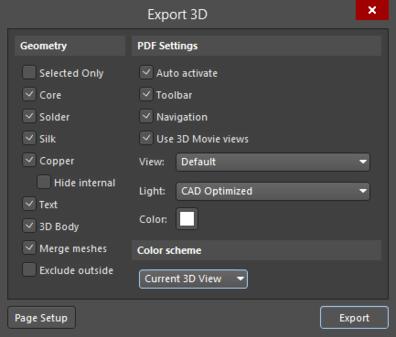 Диалоговое окно Export 3D позволяет настроить, как будет работать и выглядеть экспортированный PDF.
