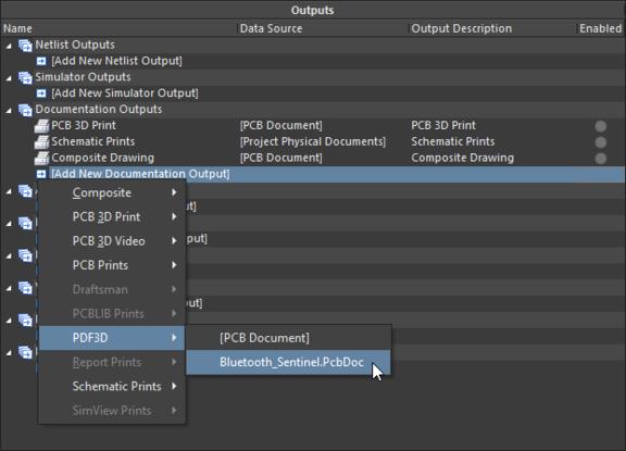 Добавление генератора выходных документов PDF3D в файле OutputJob.