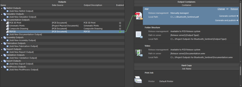 Формирование файла 3D PDF в заданный контейнер выходных документов PDF из настроенного файла OutJob.