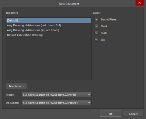 Create a blank or template-based Draftsman document from a specified project and PCB.