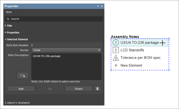 Select a single entry in a Note Item list to edit its content in the Properties dialog.