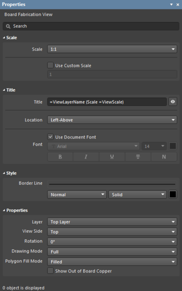 The panel automatically changes its mode and content to match the selected drawing view or object.