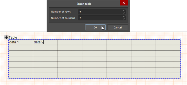 Nominate the number of cells in the Table's rows and columns – these can be modified later via a cell's right-click Table commands.