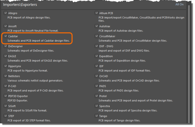 Then enable the Cadstar option, under Importers\Exporters.