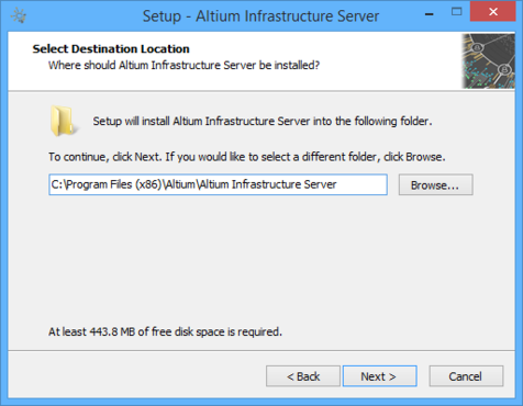 Determine install location for the Altium Infrastructure Server.