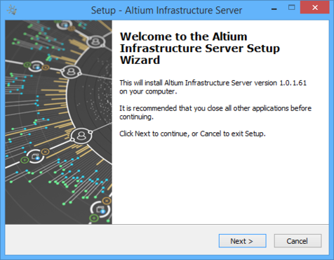 Initial welcome page for the Altium Infrastructure Server Setup wizard.