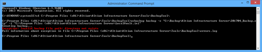 When backing up or restoring your Infrastructure Server, details of any errors, as well as full path to the errors.log file, are presented directly in the CMD window.
