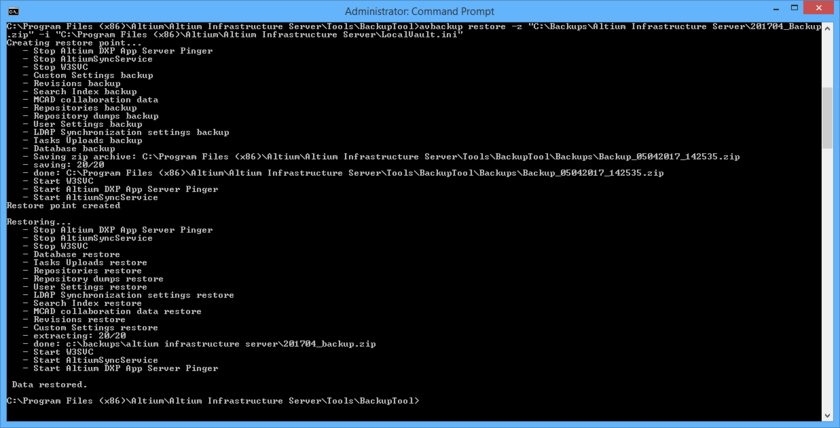 The result of running the example restore command. Notice that the tool creates a restore point first (a backup of the current Altium Infrastructure Server installation), before performing the restore.