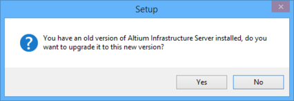You are able to upgrade an existing, older version of the Altium Infrastructure Server,  simply by running the installer for a later version.
