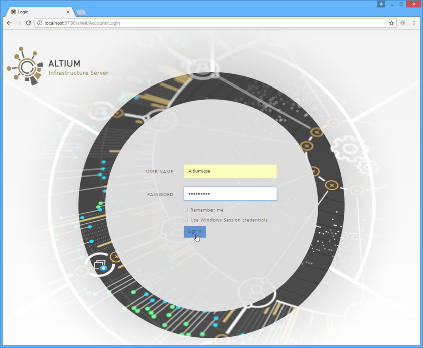 Access an Altium Infrastructure Server, and its associated platform services, through a preferred external Web browser. Roll the mouse over the image to see an example of successfully signing in to the interface.
