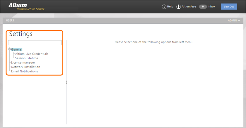 The Settings area - part of the admin-only pages within the Infrastructure Server's browser-based interface.