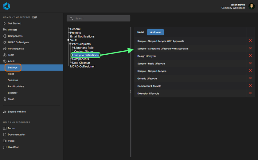 Accessing lifecycle definitions through the Workspace's browser interface. Here, the default definitions are shown.