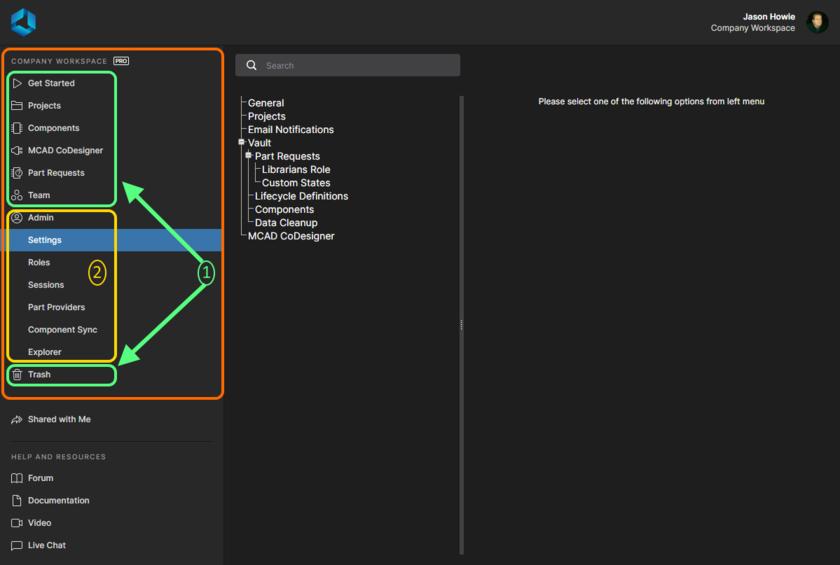 Интерфейс платформы Altium 365, где отображен активный Workspace, можно разделить на два отдельных набора элементов интерфейса. Здесь показан интерфейс для уровня доступа Pro, который предоставляется с планом подписки Pro для ваших лицензий Altium Designer. Наведите курсор мыши на изображение, чтобы увидеть интерфейс для уровня доступа Standard (если у вас план подписки Standard).