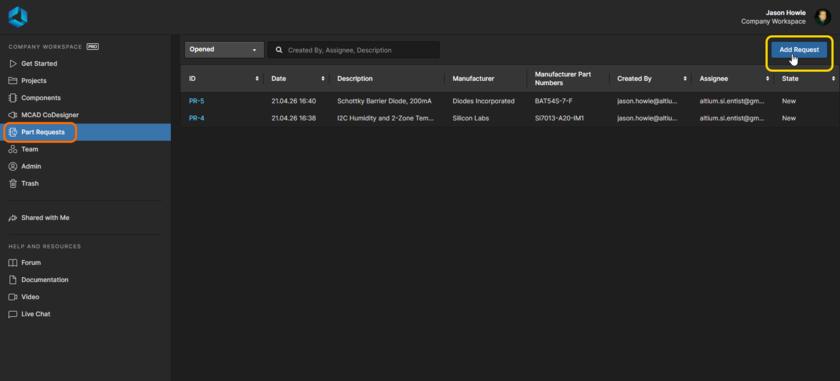 Добавление нового запроса компонента через веб-интерфейс Workspace. Наведите курсор мыши на изображение, чтобы увидеть форму для отправки подробной информации запроса.