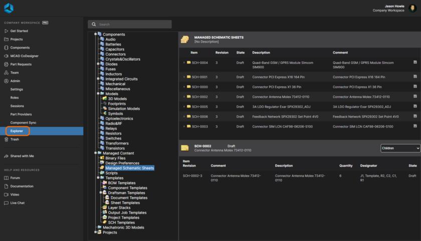Просматривайте и задавайте структуру Workspace, а также определяйте доступ к данным и загружайте данные.
