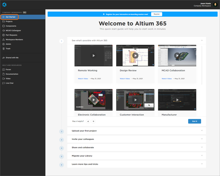 Browse through the documents and videos for getting up to speed with Altium 365, directly from within the browser interface.