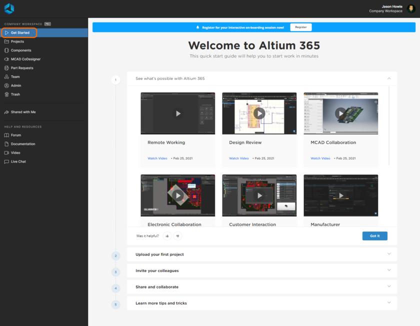 Изучите документы и видео для быстрого начала работы с Altium 365 непосредственно в веб-интерфейсе.