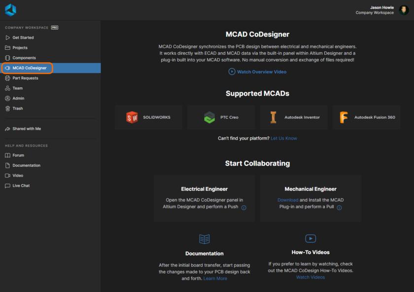 Страница MCAD CoDesigner предоставляет доступ к обзору раздела со ссылками на плагины MCAD CoDesigner и дополнительные учебные материалы.