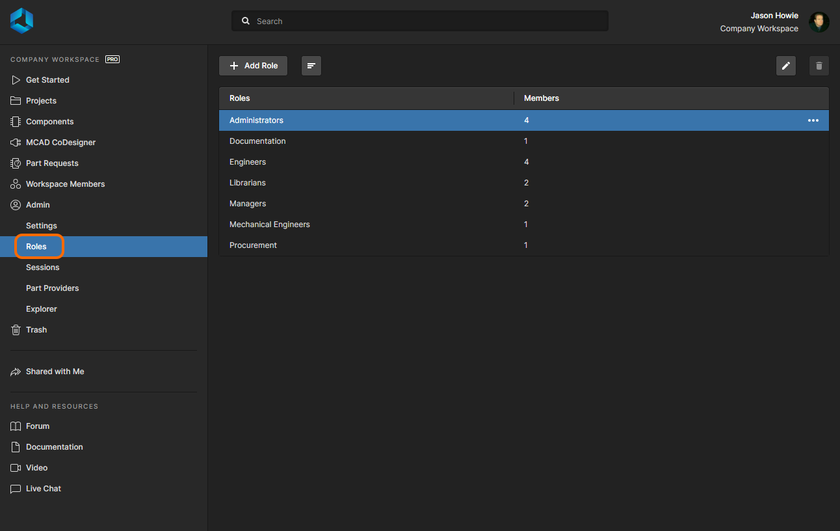 Access and manage the roles defined for your Workspace from the Admin – Roles page of the interface.