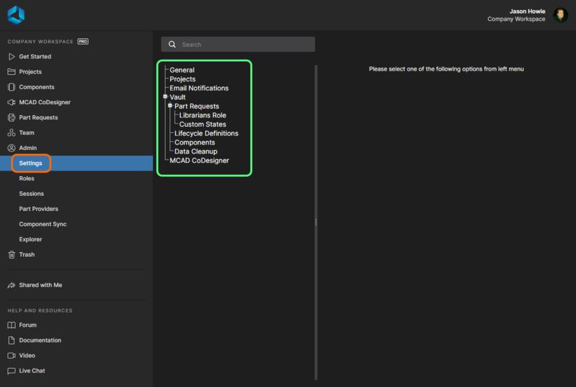 Область Admin - Settings – одна из страниц веб-интерфейса Workspace, доступных только администраторам. Здесь показан интерфейс для уровня доступа Pro, который предоставляется с планом подписки Pro для ваших лицензий Altium Designer. Наведите курсор мыши на изображение, чтобы увидеть интерфейс для уровня доступа Standard (если у вас план подписки Standard).