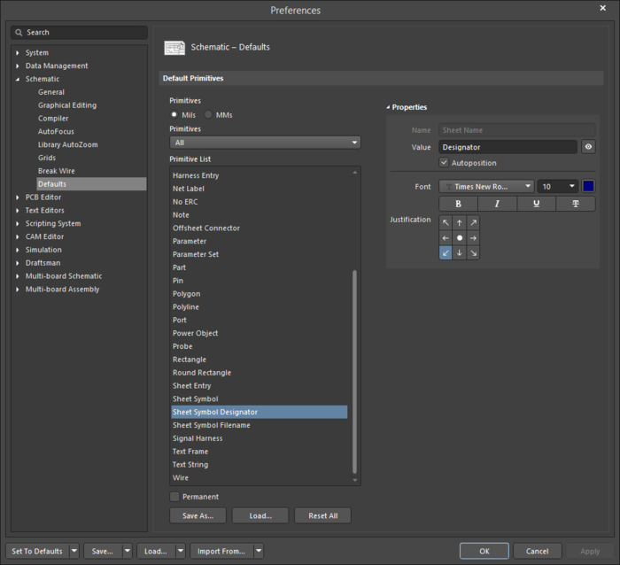 The Sheet Symbol Designatordefault settings in thePreferences dialog and the Parametermode of the Properties panel